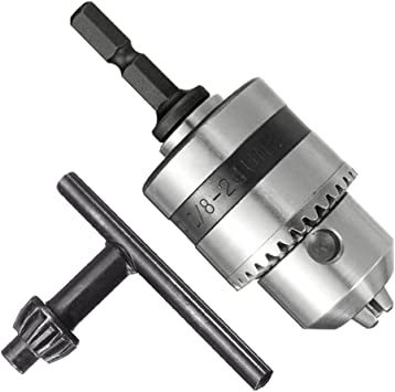 1-10mm Drill Bit Chuck Driver Converter 3//8/'/' 24UNF+1//4/'/' Hex Shank Key Adapter