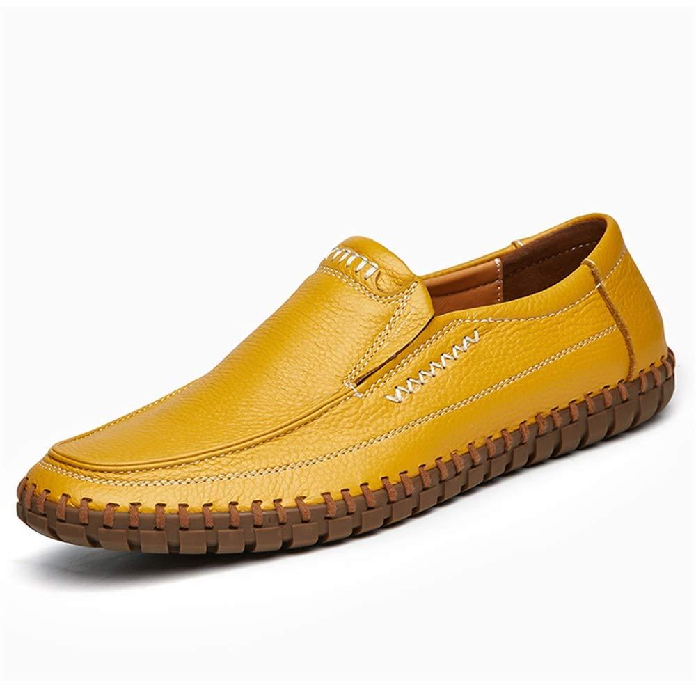 Qiusa Große Größe Beleg auf Müßiggängern für Männer weiche Sohle Schuhes beiläufige echtes Leder Driving Schuhes Sohle (Farbe : Gelb, Größe : EU 40) Gelb 1da333