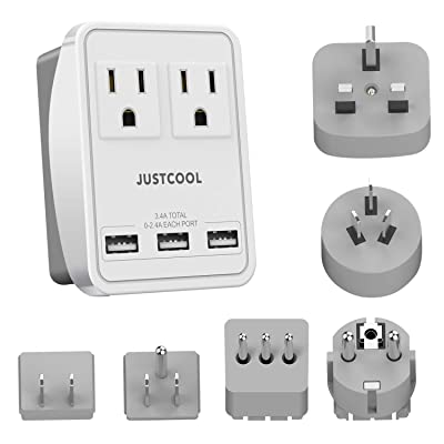 World Travel Adapter Kit, Justcool Universal Power Plug Adapter With 3-USB Ports + 2-Outlets For US, Italy, France, Germany, China, Japan, UK, Spain, Europe, Asia (Type A B G L E/F I): Home Improvement