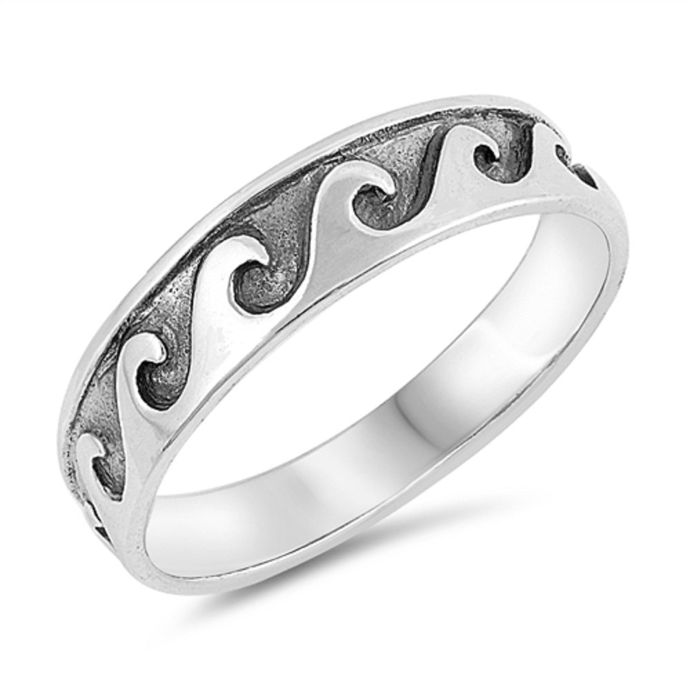 CloseoutWarehouse Oxidized Sterling Silver Engraved Ocean Waves Band Ring Size 7