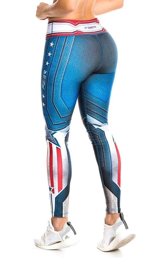 4096970058b25 Drakon \ Fiber Superhero Many Styles Leggings Yoga Pants Compression Tights  (Captain America - Fiber) at Amazon Women's Clothing store: