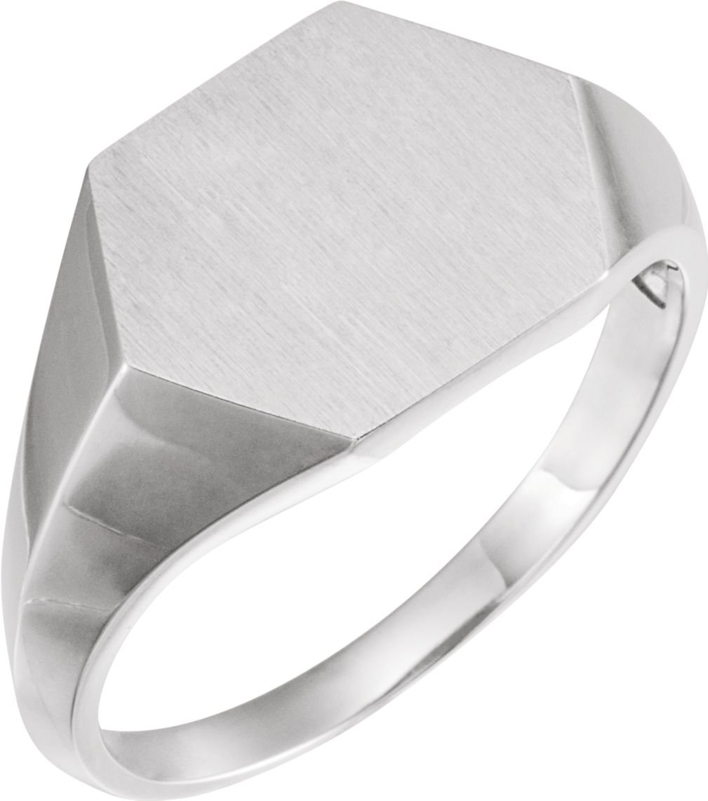 Men's Brushed Hexagon Signet Ring, Sterling Silver (14MM) Size 11.75