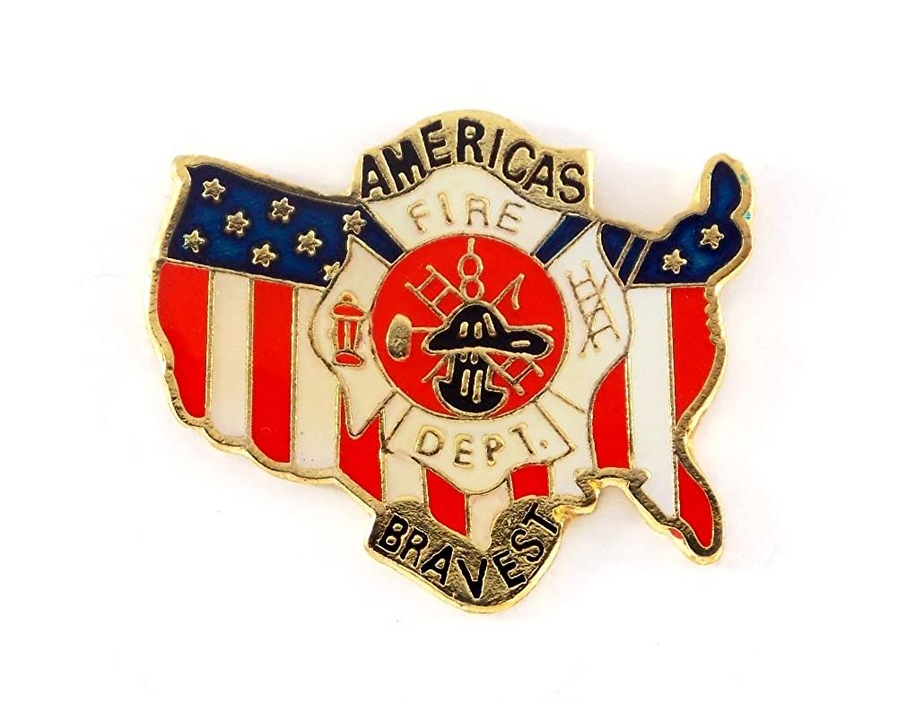 Wholesale Lot Of 12 USA Flag Fire Fighter Americas Bravest Lapel Hat Pin PPM769