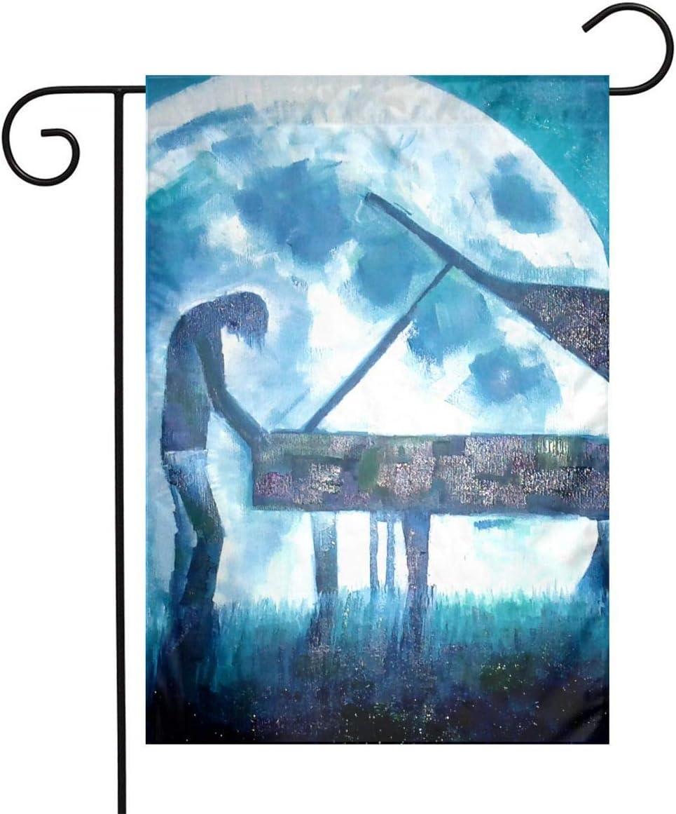 Pooizsdzzz Night Moon Piano Play Festival Garden Flag Front Door Flag Decorative Home Outdoor Flag 1218 Inch