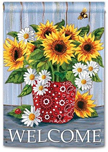 "BreezeArt Welcome Bandana Sunflowers 28"" X 40"" House Flag..."