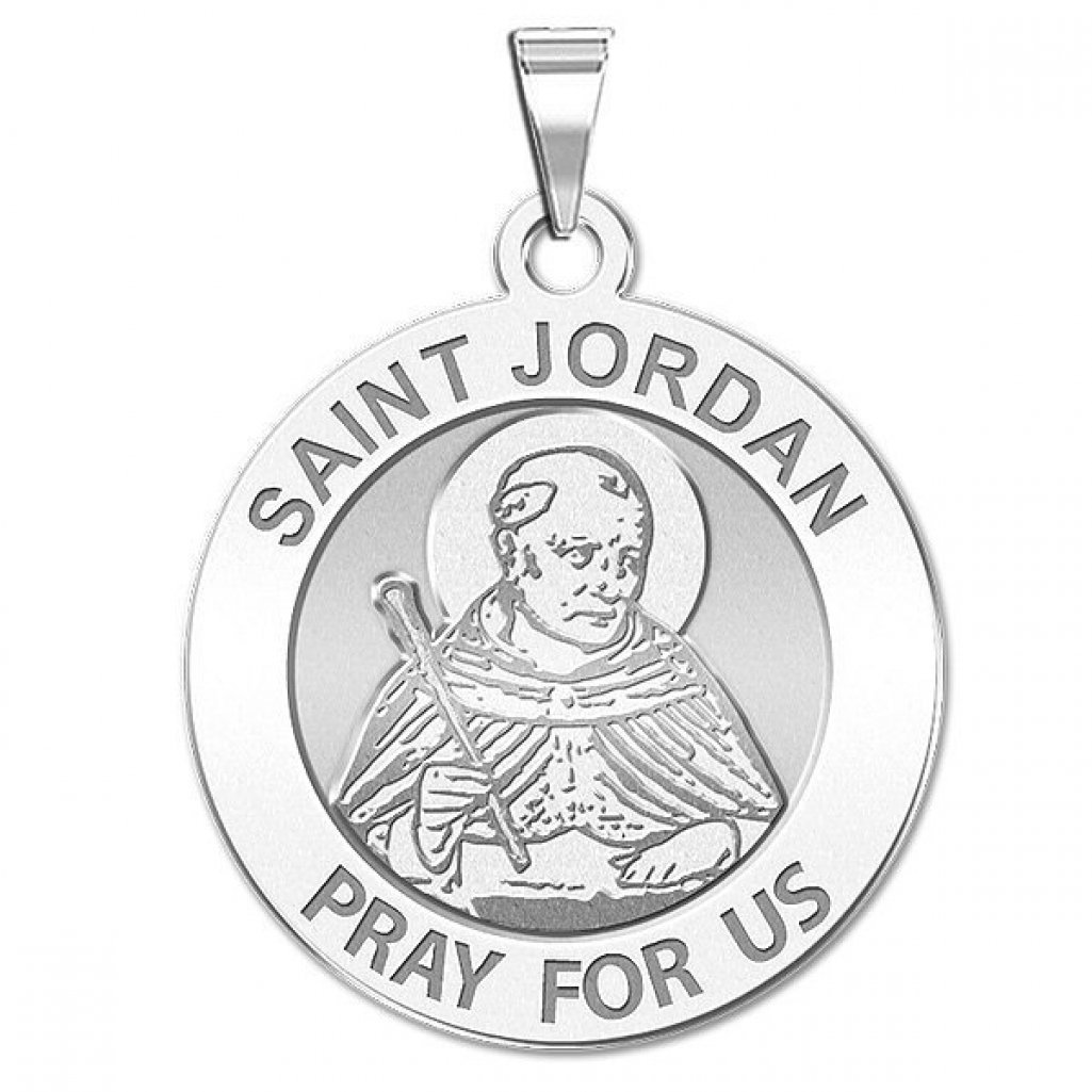 Saint Jordan Religious Medal - 2/3 Inch Size of Dime, Solid 14K White Gold by PicturesOnGold.com