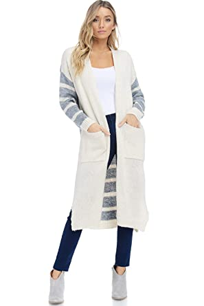 0c47be2fdb05b3 Alexander + David Womens Stripe Contrast Cardigan Sweater - Open Front  Duster (Ivory/Grey