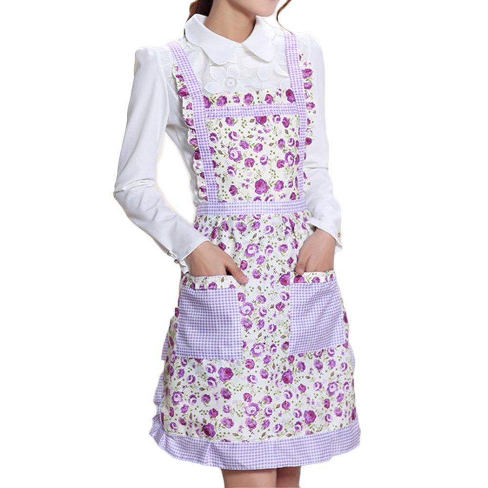 Bodhi2000® Womens Floral Princess Apron Bib Home Cooking Kitchen Restaurant Chef Protector TRTAZ11A