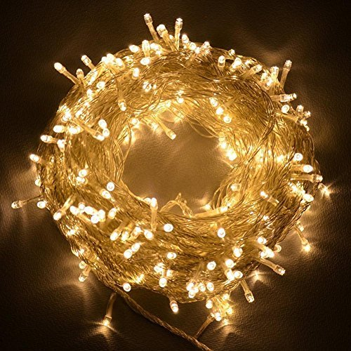 Christmas String lights, FULLBELL 33ft 100 LEDs with Controller Fairy Twinkle Lights Decoration for Chirstmas Tree,Garden,Multi Stings Connectable(Transparent Wire)(Warm White) (Led Lights Connectable)