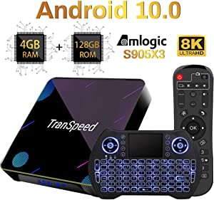 Android 10 TV Box, Amlogic S905X3 4GB 128GB Support 8K 4K 3D Ultral HD Video Smart tv Box with Mini Keyboard