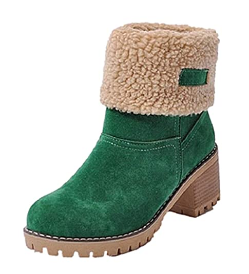 ad7fc75f5616c1 NEOKER Damen Winterschuhe Schneestiefel Plateau Shorts Stiefel Chunky Heels Boots  Stiefeletten Fell Bequeme Gefüttert Mode Schuhe