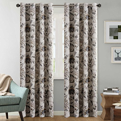 hversailtex thermal insulated extra long curtains108 inch floral in sage and brown