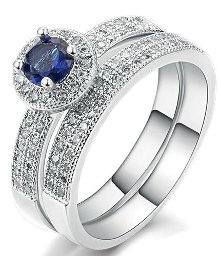 Amaranteen 18 K chapado en oro blanco Sapphire Boda y anillo de compromiso Set