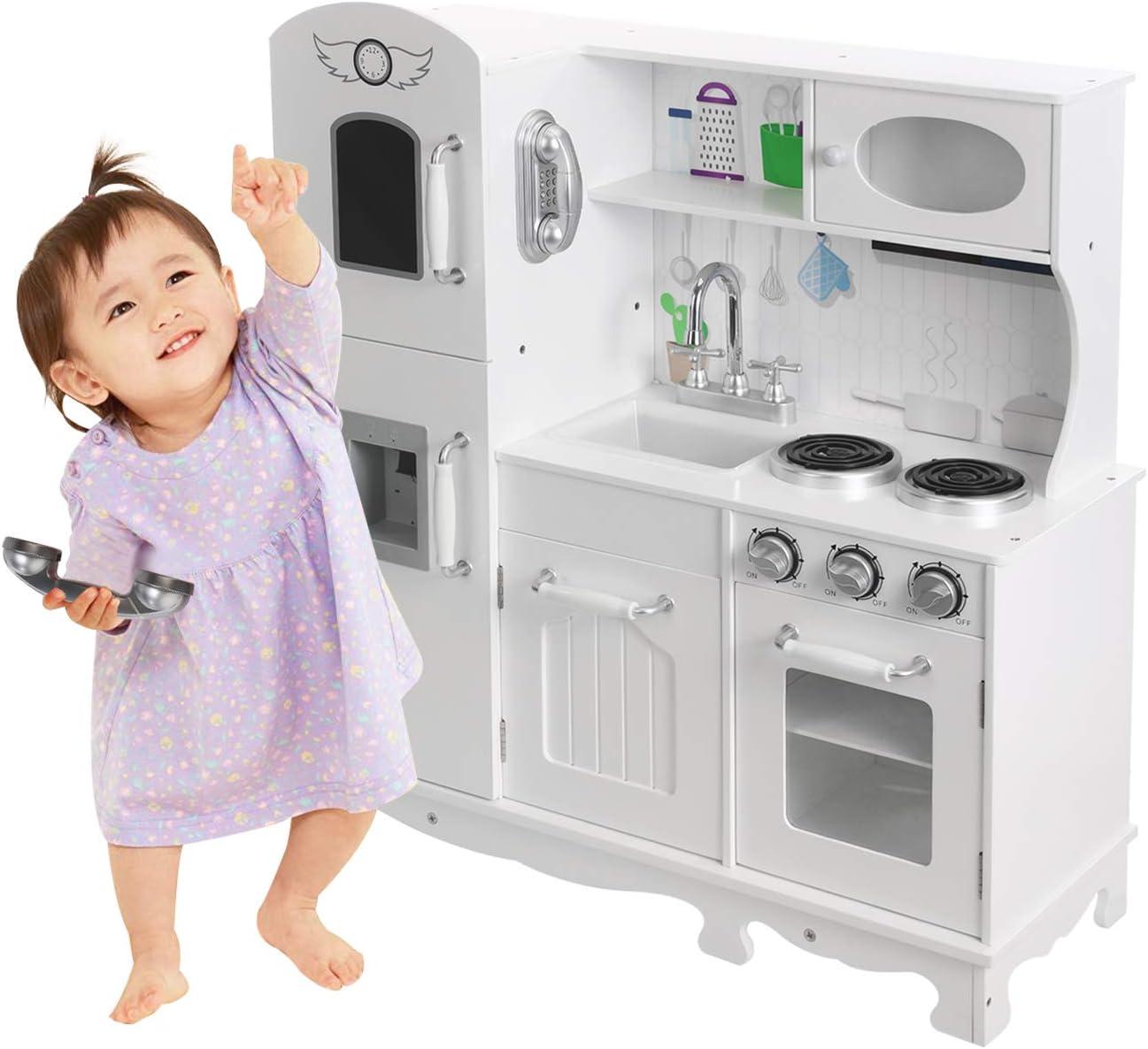 HOMFY Kids Play Kitchen for Toddlers Wooden Toy Kitchen Sets Pretend Kitchen Set with Sounds - White (Refrigerator Kitchen)