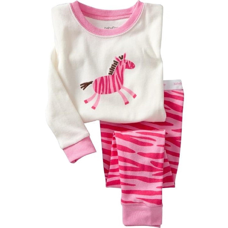2017 new girls pyjamas set 2T-7T zebra Cartoon pattern cotton cozy Breathable