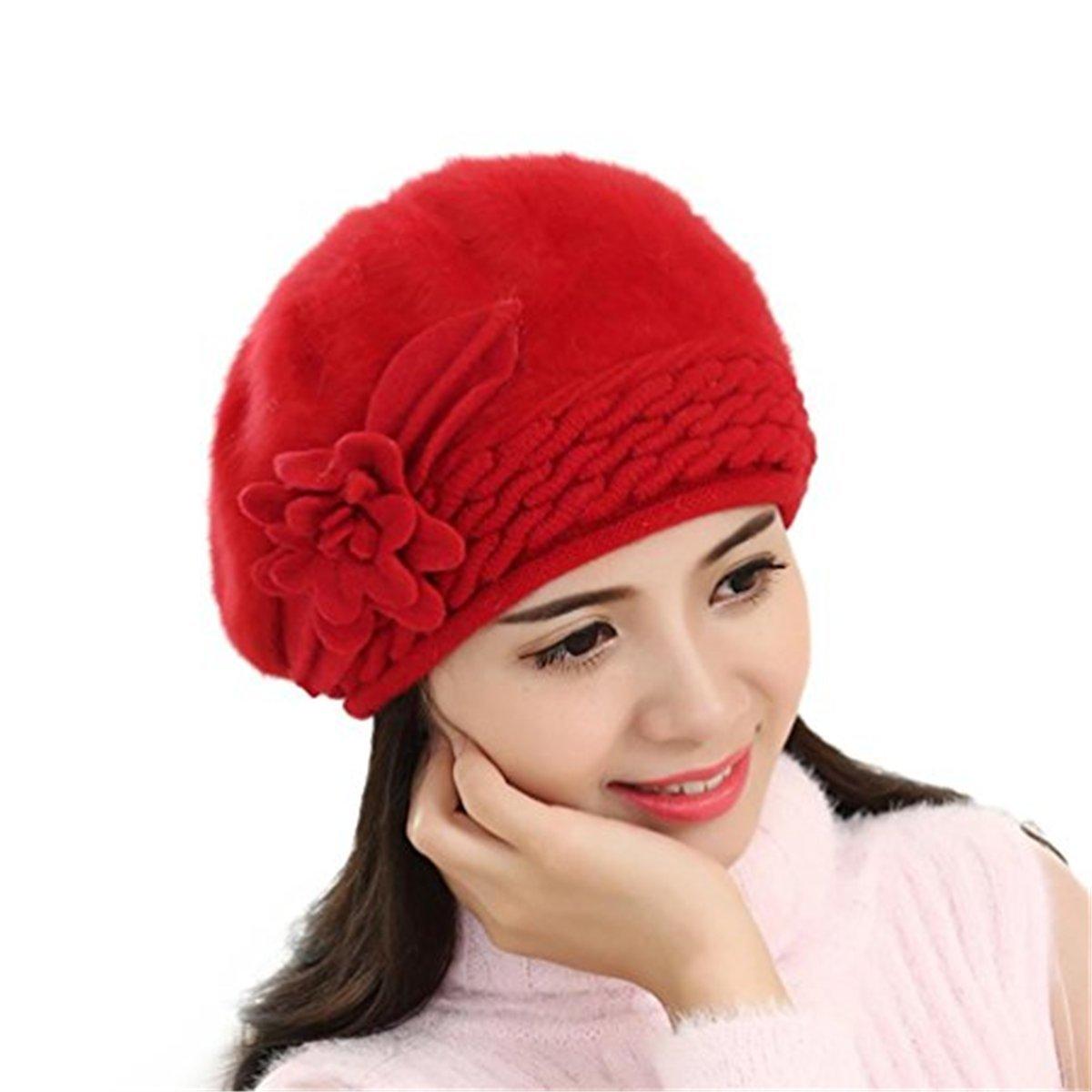 Womens Flower Knit Crochet Beanie Hat Winter Warm Cap 39 TYJ2017121403BE-O