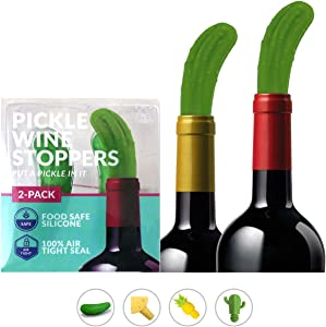 Hawwwy Funny Pickle Wine Stoppers, Wine Gifts, Reusable Silicone Bottle Stopper, Cute Wine Gadget, Unique Wine Lovers Gift Idea Men Women Fun Beverage Accessories Decorative Topper - 2 Pack