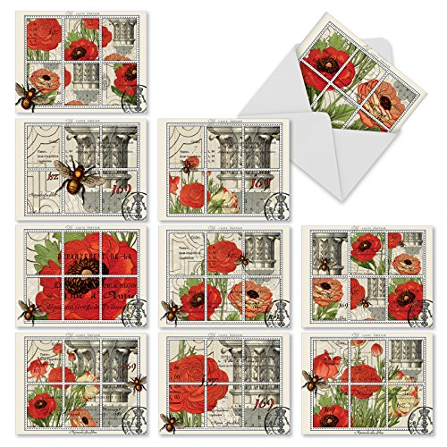 """(10 All-Occasion Note Cards with Envelopes, 'What's the Buzz' Blank Greeting Cards, Elegant Stationery Set for Weddings, Baby Showers, Birthdays, and More (4"""" x 5 ¼"""") - NobleWorks #M3983)"""