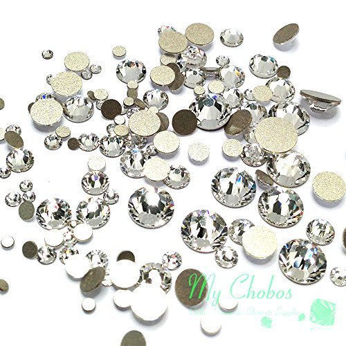 Crystal-Wholesale Swarovski Clear CRYSTAL (001) 2058/2088 Crystal Fatbacks Rhinestones Nail Art Mixed With Sizes Ss5, Ss7, Ss9, Ss12, Ss16, Ss20, Ss30, 144 Piece
