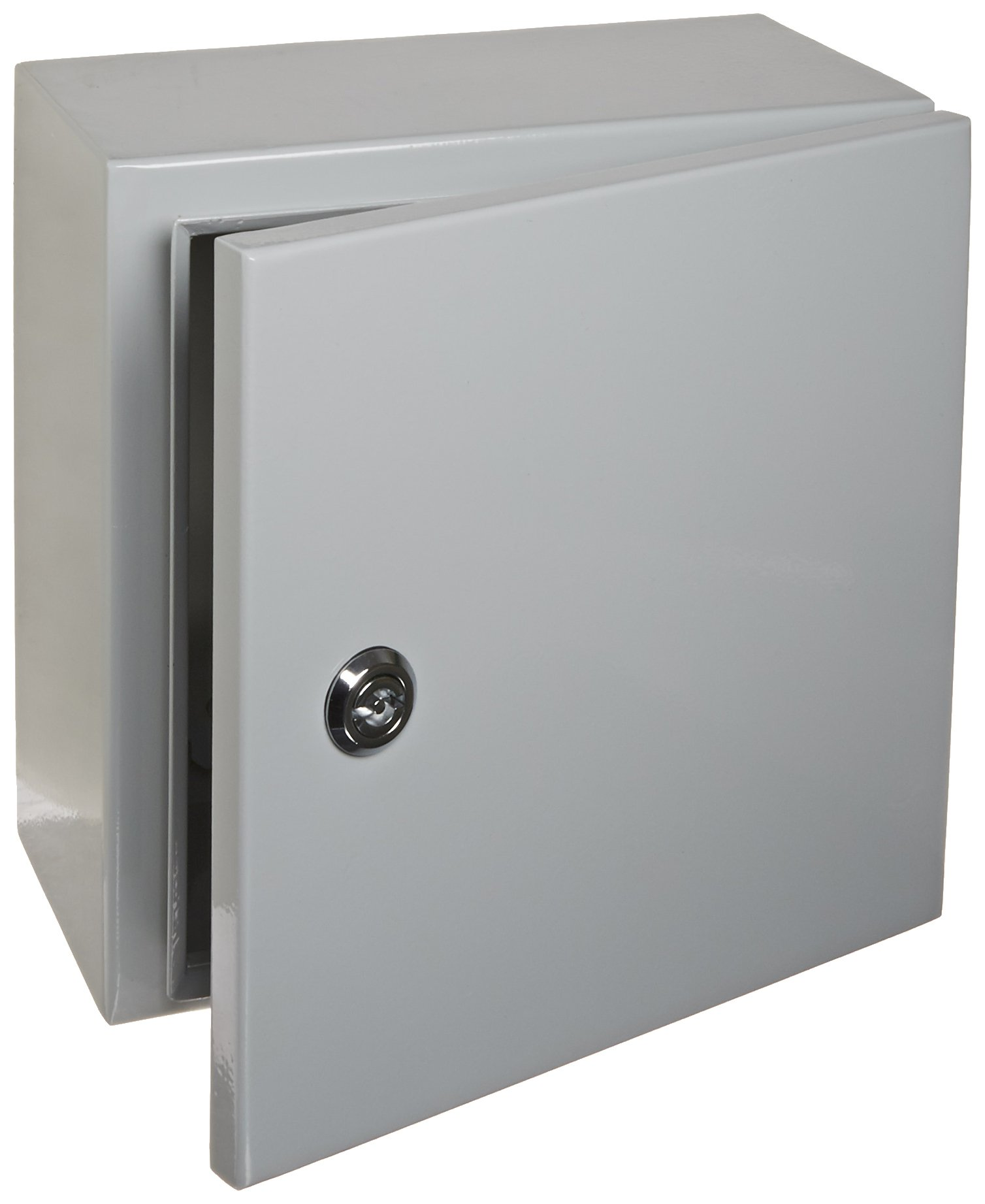 BUD Industries Series SNB Steel NEMA 4 Sheet Metal Box with Mounting Bracket, 9-53/64'' Width x 9-53/64'' Height x 5-29/32'' Depth, Smooth Gray Finish