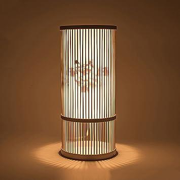 XUANLAN Lámpara de mesa de madera hecha a mano china ...
