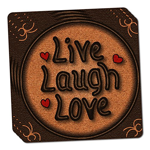 Live Laugh Love Hearts Thin Cork Coaster Set of ()