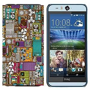 TECHCASE---Cubierta de la caja de protección para la piel dura ** HTC Desire Eye ( M910x ) ** --Grabar Oldschool Máquina de dibujos animados