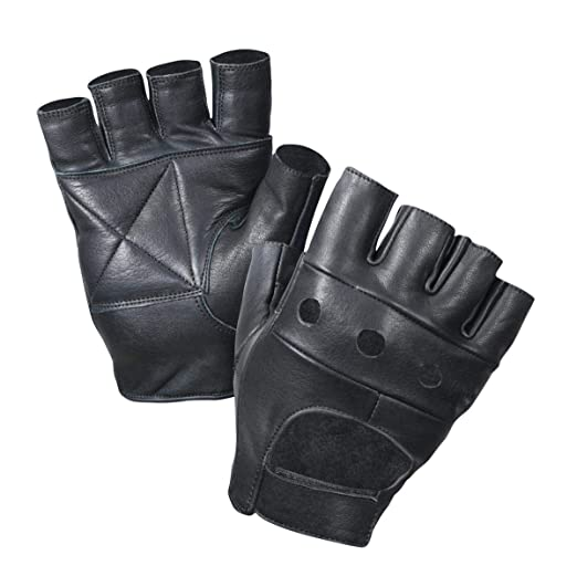 b030d625a Leather Fingerless Gloves, Padded Palms, Soft Lambskin Leather (Black, 2XL)