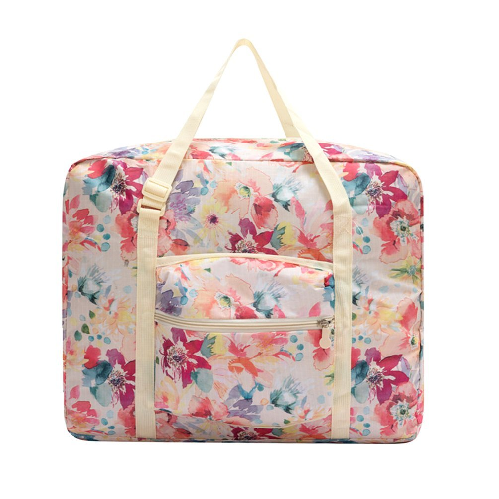 Ac.y.c Travel Duffel Bag for Women Foldable Floral Print Carry On Express Weekender Organizer For Gym Sports (White Floral) by Ac.y.c (Image #1)