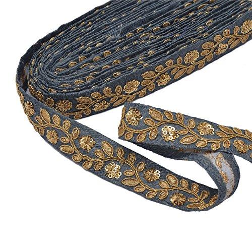 (SalsaNights 9 Yards Sewing Trims & Embellishments for Dresses DIY Craft Lace Ribbon Applique Indian Sari Border Decor, 1