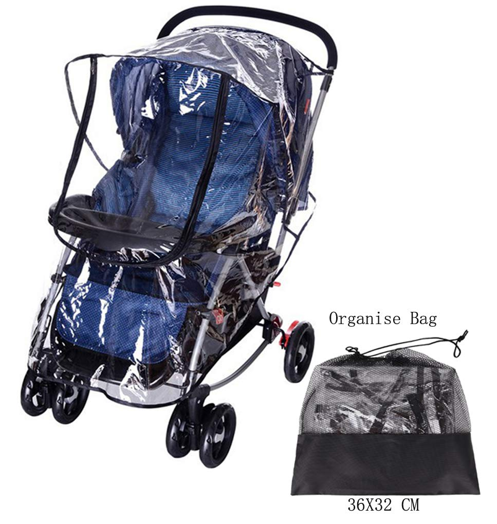 Universal Rain Cover for Most Pushchair Pram Baby Stroller Rain Cover With Zip Front Opening Buggy Throw Over Rain Cover PVC Transparent Waterproof Wind Rain Weather Shield Protector BAO CORE