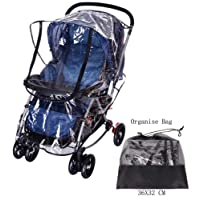 Universal Rain Cover for Most Pushchair Pram Baby Stroller Rain Cover With Zip Front Opening Buggy Throw Over Rain Cover PVC Transparent Waterproof Wind Rain Weather Shield Protector