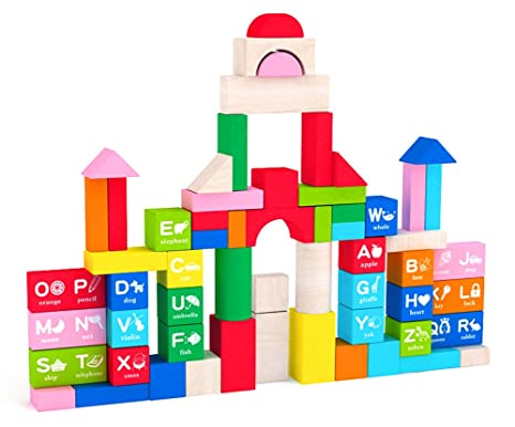 Beau May U0026 Z Wooden Building Blocks Set   Colored Wood Block Set With Alphabet  With Storage