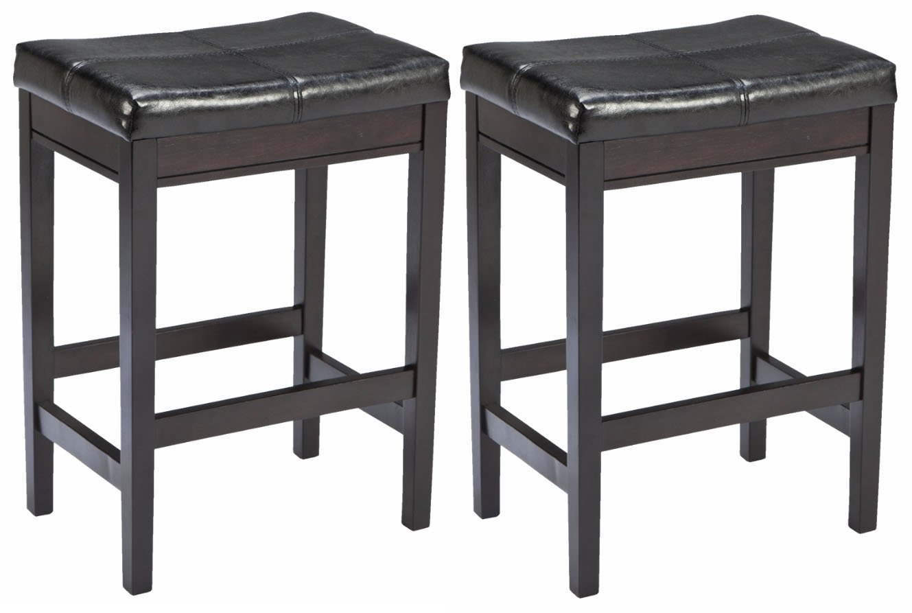 Ashley Furniture Signature Design Kimonte Upholstered Barstool, Dark Brown, Set of 2 D250-224