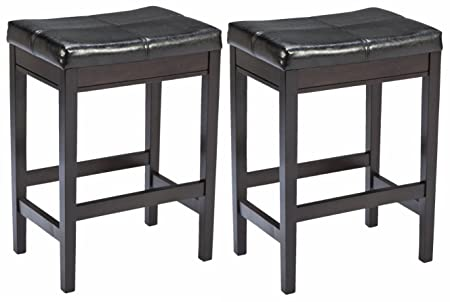 Ashley Furniture Signature Design – Kimonte Upholstered Barstool – Counter Height – Contemporary – Set of 2 – Dark Brown