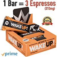 Jesse's WakeUP! All Natural Caffeinated Energy Bar (1 Bar = 3 Espressos) Dark Chocolate Rice Crisp Bar (100 Calories) - Vegan, Kosher, Soy Free, Gluten Free, Nut Free, Non-GMO (6 Count)