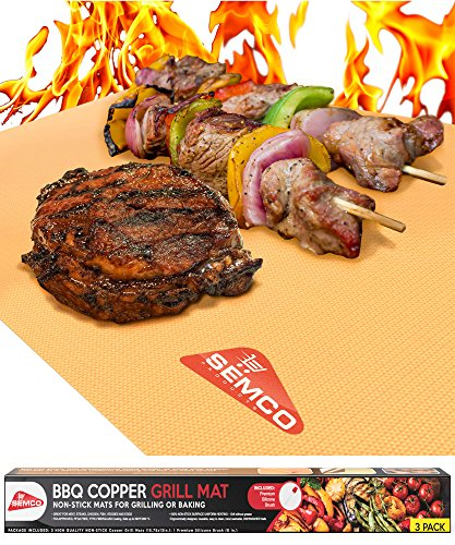 SEMCO Products Copper GRILL MAT Set of 3 - PREMIUM NON STICK BBQ Gold Grill & Baking Chef Mats - Reusable, FDA Approved, PFOA Free - Best for Gas, Charcoal & Electric Grill by SEMCO Products