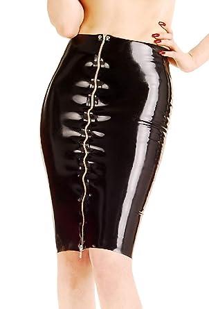 Anita Berg - Sexy falda corta de látex con zip negro negro 44/46 ...