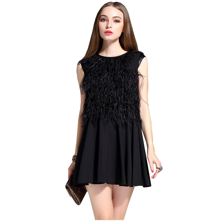 KE Elegante Plüsch Quasten-Weste-Kleid Sleeveless Winter-Ein Kleid