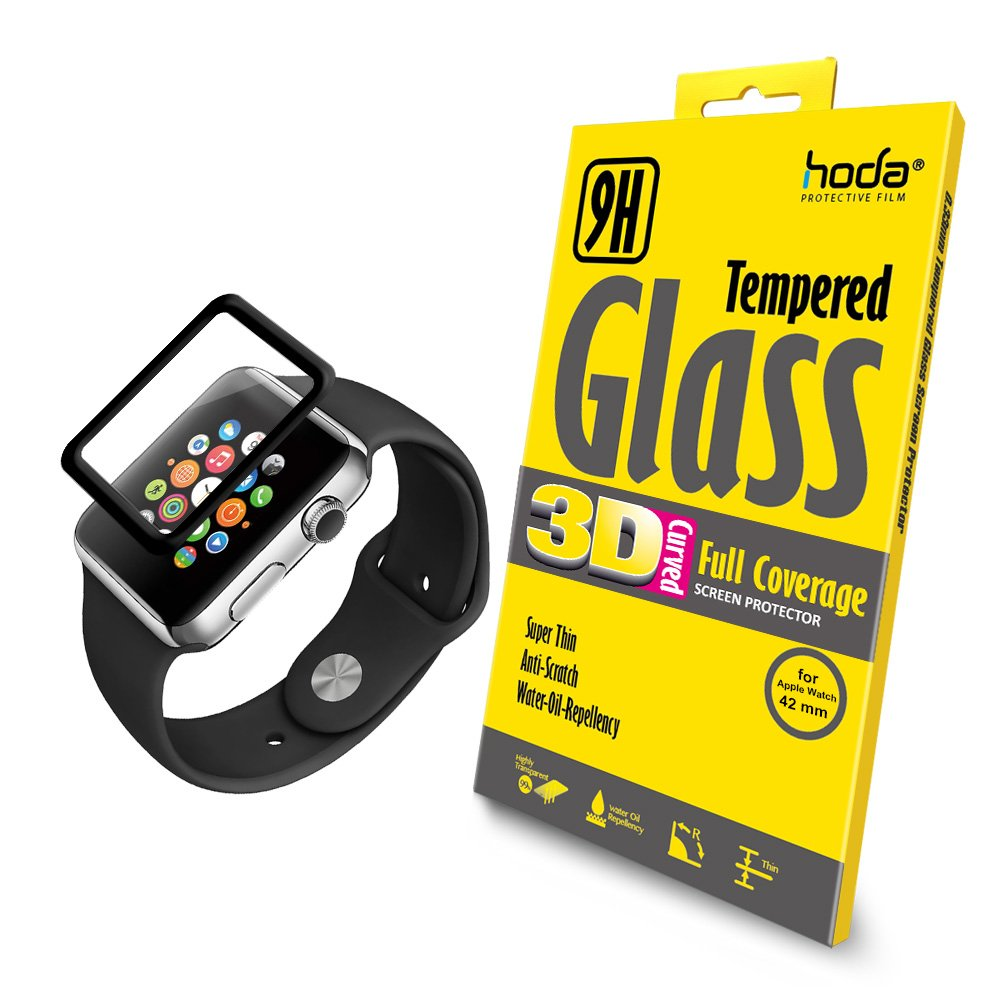 hoda [42mm] Screen Protector for Apple Watch Series 3/2/1 [Tempered Glass] [3D Full Coverage] Black 9H Hardness