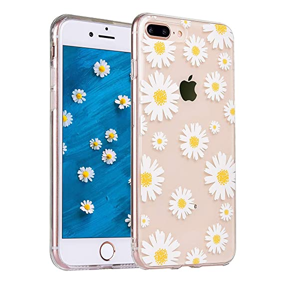 new product bb705 be065 COSANO for iPhone 8 Plus case, iPhone 7 Plus case, Girls Floral Flower  Clear Design Slim Fit [Hard PC Back + Shock Absorbing Soft Bumper] Ultra  Thin ...