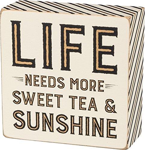 Life Needs More Sweet Tea & Sunshine Decorative Wooden Box Sign