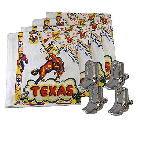 Vintage Texas Map Retro Cloth Napkins Set of 4 with 4 Cowboy Boot Napkin Rings (8 Item Bundle)