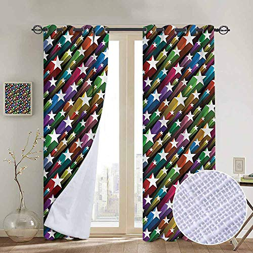 (NUOMANAN Curtains Colorful,Colorful Stars Pattern Celebration Theme Disco and Nightclubs Artistic Jolly Fun,Multicolor,Treatments Thermal Insulated Light Blocking Drapes Back for Bedroom 52