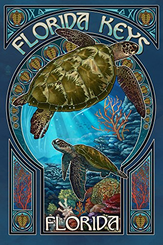 Florida Keys - Sea Turtle Art Nouveau (16x24 SIGNED Print Master Giclee Print w/ Certificate of Authenticity - Wall Decor Travel Poster)