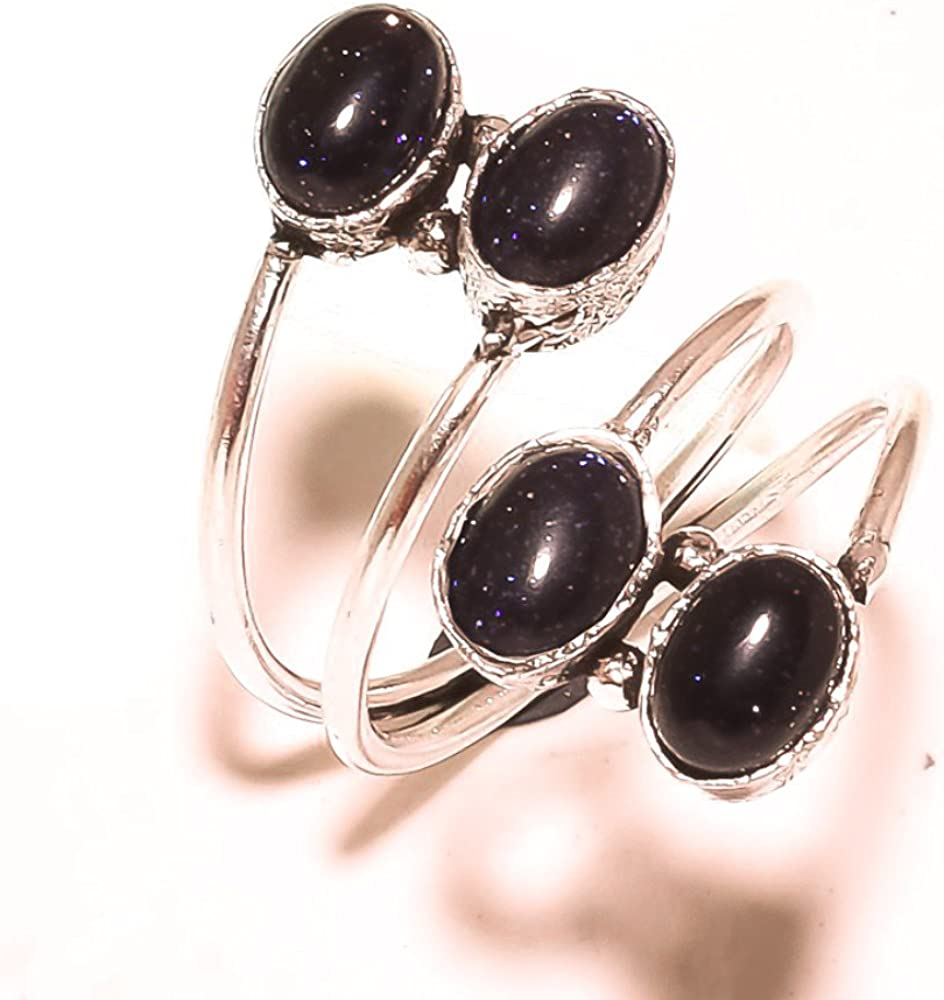 Sizable Black Sunstone Sterling Silver Overlay 5 Grams Ring Size 7 US Handmade Gift Jewelry