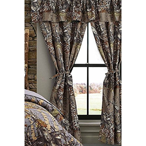 Regal Comfort The Woods Grey Camouflage 5pc Curtain Set for Hunters Cabin or Rustic Lodge Teens Boys and Girls (Curtain, Grey)