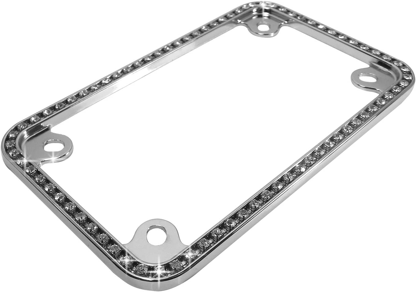 Clear Crystals Chrome Motorcycle License Plate Frame