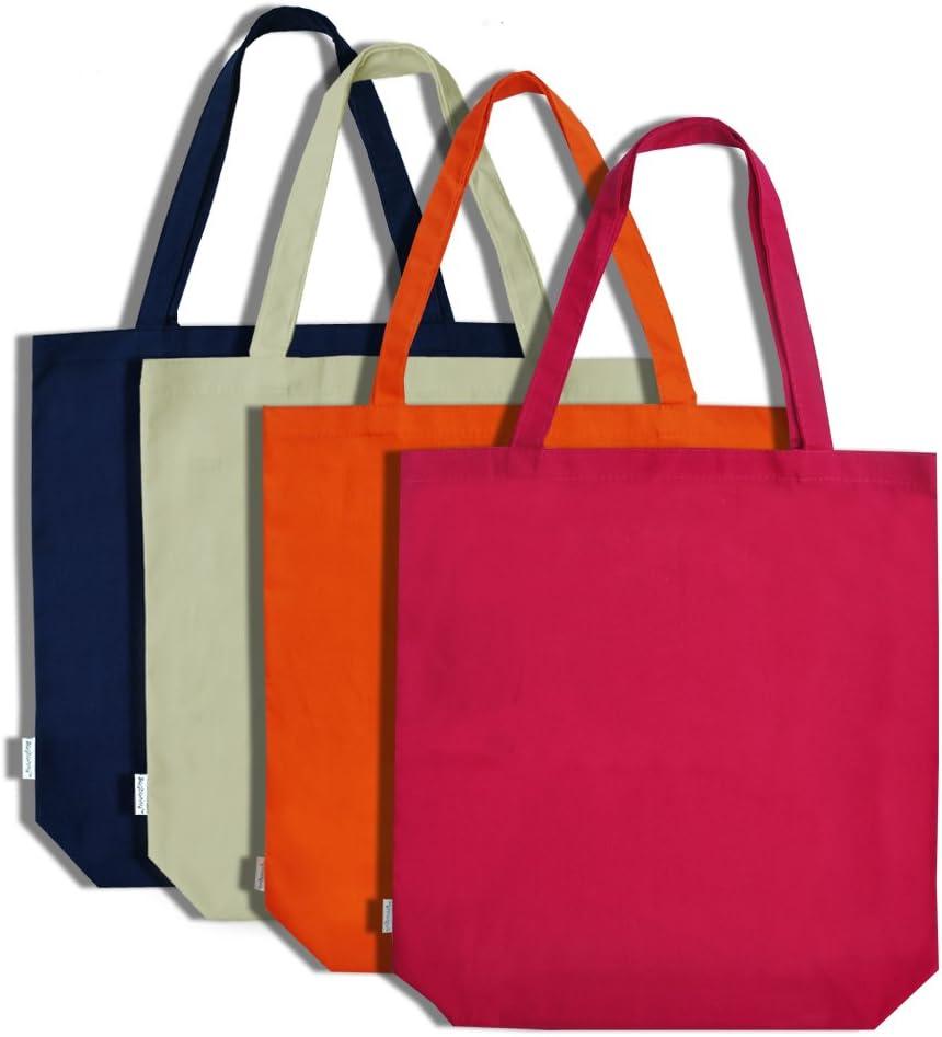 Augbunny Bolsa de la compra de lona, 100% algodón, pack de 4, algodón, multicolor, XL