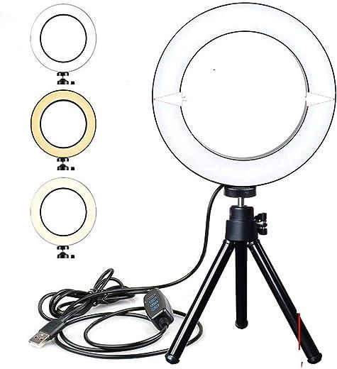 Photography Lighting With Tripod Stand Camera Photo Studio Circle Led Selfie Ring Light Phone Lamp For Video Tik-Tok You-tube Set (Color : 16CM light desk)